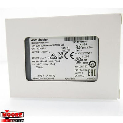 1734-IA4 1734IA4  Allen Bradley  AB  It has 2 or 1 group of 4 Inputs and an Input Voltage of 120 Volts AC with an POINTB